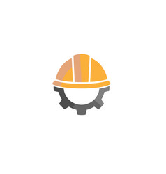 Creative yellow hardhat construction helmet logo vector