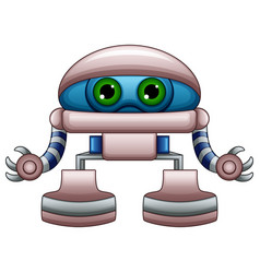 Cute robot cartoon with green eyes isolated on whi vector