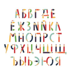 cyrillic alphabet is formed pencils vector image