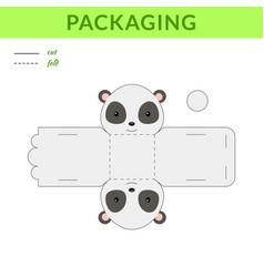 Diy party favor panda box for birthdays baby vector