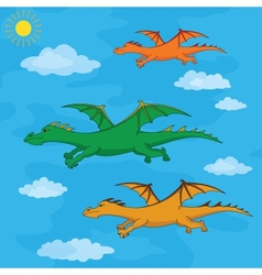 Dragons flies in the blue sky vector