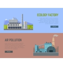 Ecology Factory and Air Pollution Banners vector image