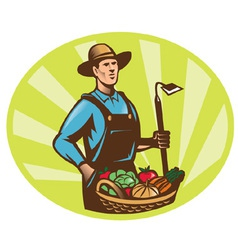 Farmer harvest icon vector