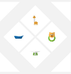 Flat baby set of toy bathtub rattle and other vector