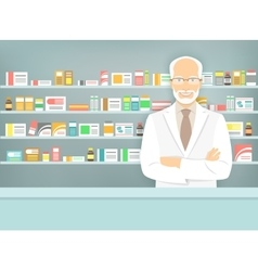 Flat style aged pharmacist at pharmacy opposite vector image