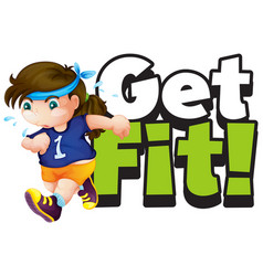 Font design for word get fit with girl running vector