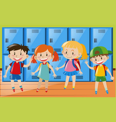 Four children in locker room vector