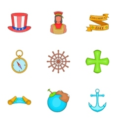 Geography icons set cartoon style vector image