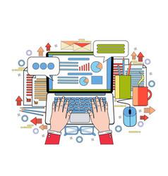 hands work on laptop computer finance chart vector image