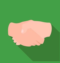 Handshake icon in flat style isolated on white vector