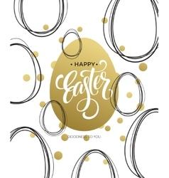 Happy Easter Easter Golden Lettering Egg vector image