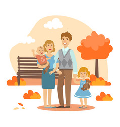 happy family walking together in autumn park vector image