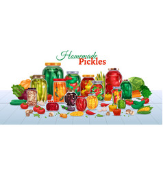 Homemade pickles horizontal composition vector