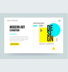 Homepage template header for art gallery website vector