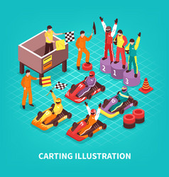 Isometric carting racers background vector