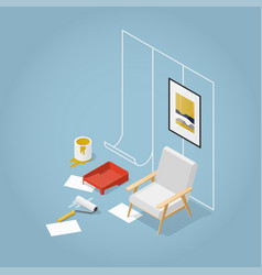 isometric concept home renovation vector image