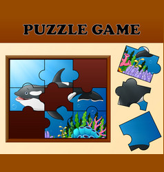 Killer whale in undersea with puzzle concept vector