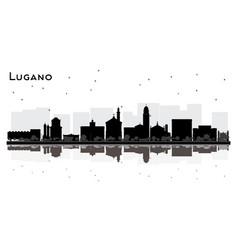 Lugano switzerland city skyline silhouette vector