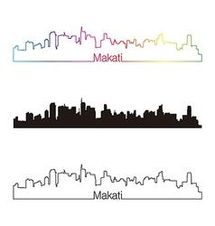 Makati skyline linear style with rainbow vector image