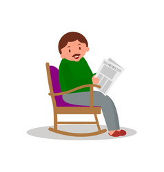 man sitting in rocking chair man leisure time vector image