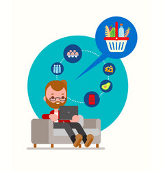 man sitting on couch ordering groceries online vector image