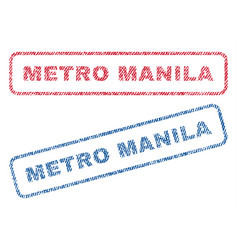 Metro manila textile stamps vector