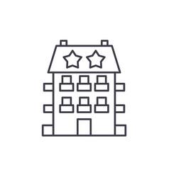 Mini hotel line icon concept hotel vector