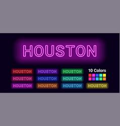 Neon name of houston city vector