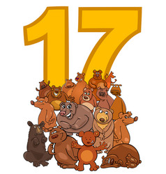 Number seventeen and cartoon bears group vector