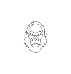 one single line drawing gorilla head for vector image