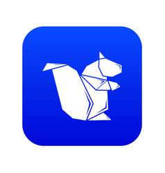 Origami squirrel icon blue vector