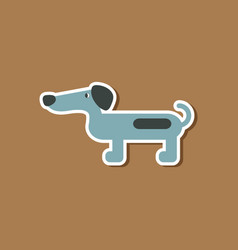 paper sticker on stylish background dog dachshund vector image