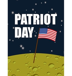 Patriot day American flag on moon surface Flag USA vector