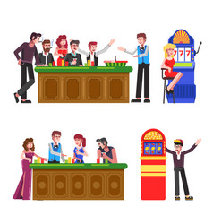 people with cigarettes and drinks at casino set vector image