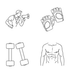 Personal trainer gloves dumbbells a male torso vector