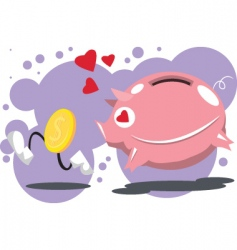 pig-love-coins vector image