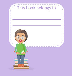 place for book owner name and boy vector image