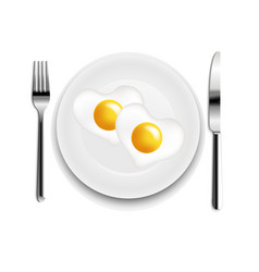 Plate with fried egg heart fork and knife white vector