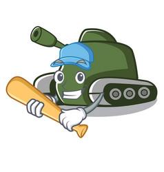 Playing baseball tank character cartoon style vector