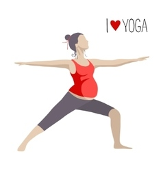 Pregnant woman doing yoga warrior pose vector