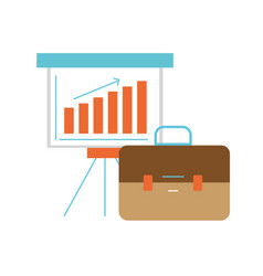 Presentation with statistics bar diagram and vector