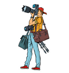 Professional photographer with camera and vector