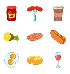 Restaurant breakfast icons set cartoon style vector