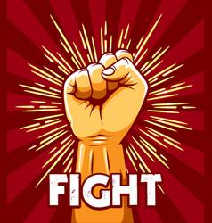 Rised fist revolution protest emblem vector