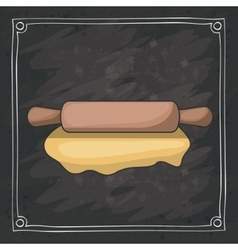 Rolling pin of bakery instrument design vector