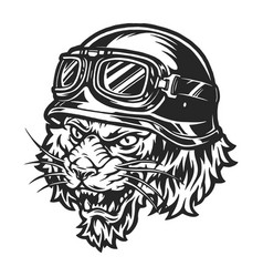 Scary motorcyclist tiger head vector