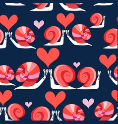 seamless bright pattern loving snails vector image