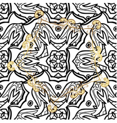 Seamless medieval floral royal pattern gold on vector