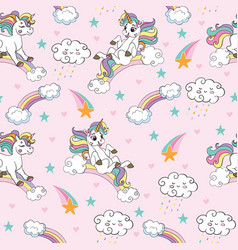 seamless pattern with funny unicorns pink vector image
