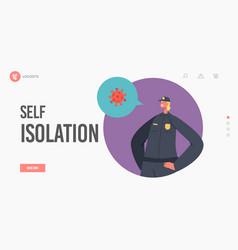 Self isolation landing page template quarantine vector